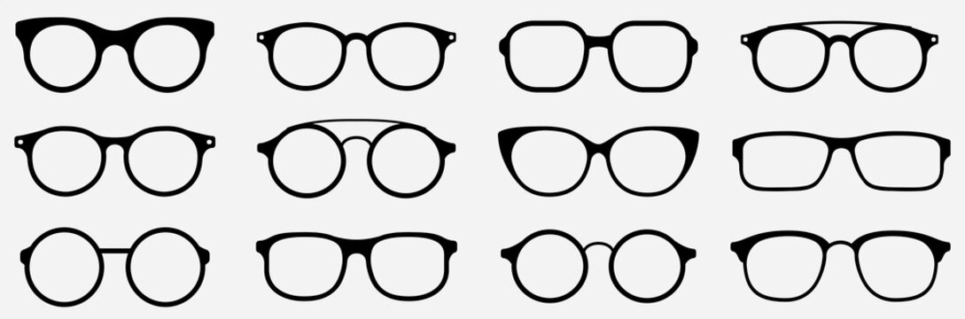 Glasses icon concept. Glasses icon set. Vector graphics isolated on white background. Glasses hipster frame set, fashion black plastic rims, round geek style retro nerd glasses. Vector sun glasses set