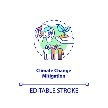 Climate change mitigation concept icon. Organic waste reduction benefit idea thin line illustration. Reducing greenhouse gases emission. Vector isolated outline RGB color drawing. Editable stroke