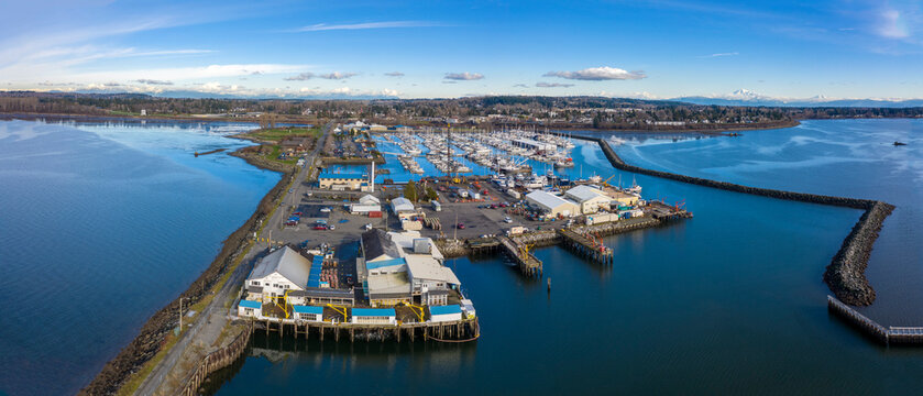 Aerial View of Blaine Public Pier and Marina, Blaine, Washington. Operated by the Port of Bellingham it offers exceptional access to views of Semiahmoo Spit, Mt Baker, and the local waterways.