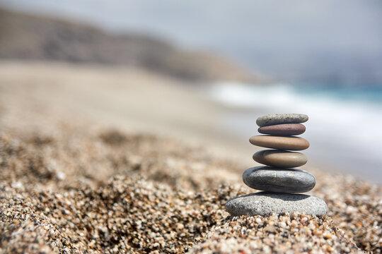 Stones and water in Playa de los muertos. Cabo de Gata. Almeria