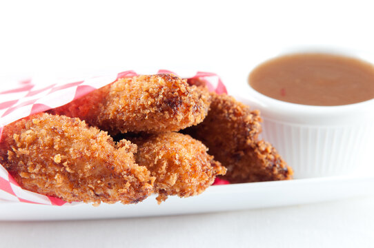 chicken tenders in an envelope with plum sauce