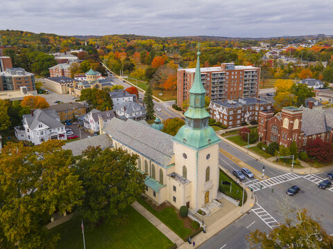 Trinity Lutheran Church at 73 Lancaster Street in historic downtown of Worcester, Massachusetts MA, USA.