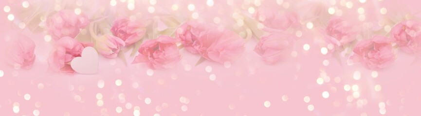 Spring floral banner with soft pastel colors - background panorama - concept Mother's Day, Valentine's Day, wedding or birthday