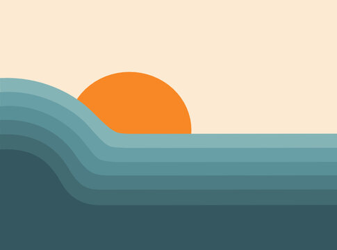 Retro abstract sunset landscape 70's style mid century modern graphic design, blue and orange vintage vector illustration, colorful minimal Art Deco gradient striped pattern, ocean nature landscape