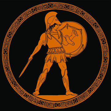 Ancient Greek warrior with a sword and shield in his hands is standing ready to attack. Drawing on the bottom of a ceramic pot.