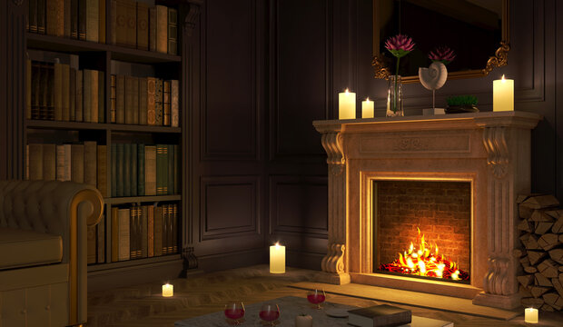 Classic fireplace in a vintage night room