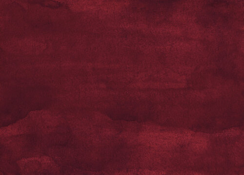 Watercolor deep red background painting, vintage elegant texture. Old watercolour dark maroon backdrop. Stains on paper.