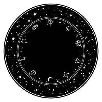 round ornament of esoteric elements and stars