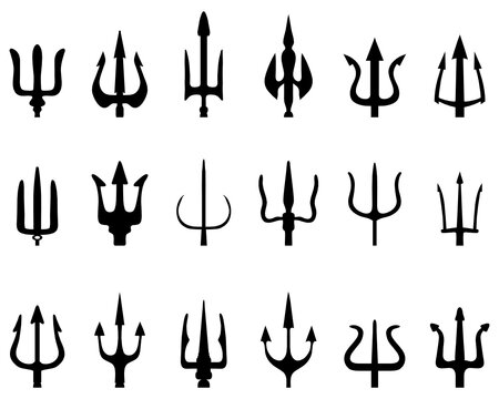 SVG Set of black silhouettes of trident on a white background