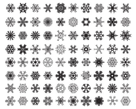 SVG Set of different black snowflakes on a white background