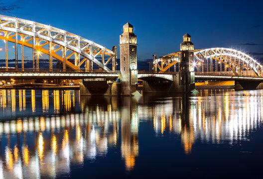 The Bridge of Peter the Great (Bolsheokhtinsky) at night, St. Petersburg, Russia