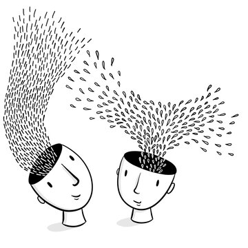 Head Spaces –line illustration of two hand-drawn heads with ideas and thoughts raising from their heads // creativity, brainstorming, collaboration, inspiration