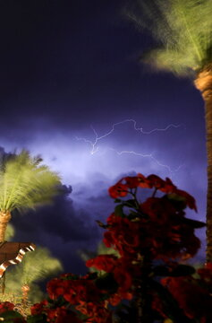 A lightning strike lights up the sky during a thunder storm at Red Sea resort of Sharm el-Sheikh, south of Cairo