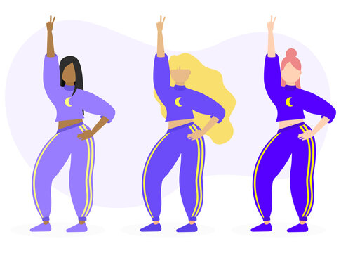 Set of diverse people woman with sweatpants jogger female t-shirt. Holding peace sign moon sign hand up purple fashion clothes. Sporty clothes flat illustration vector.