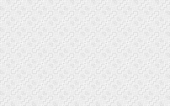 Geometric seamless pattern with zig-zag line, square and dot. White and light grey element on white background. Vector illustration. For male polo shirt textile wrapping cloth silk scarf bandana