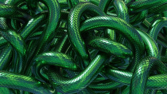 Tangled snakes with green metallic scales. Fantasy background. 3D rendered image.