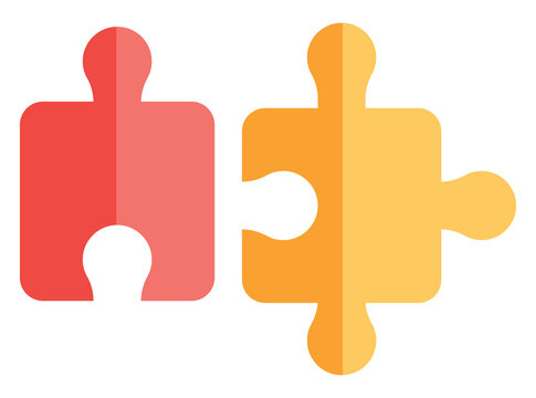 Black and yellow puzzle, illustration, vector on white background.