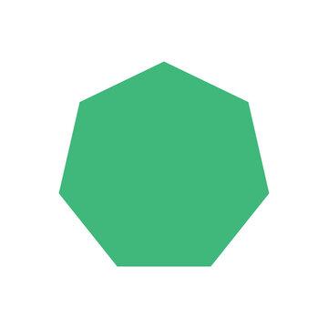 green heptagon basic simple shapes, geometric heptagon icon, 2d shape symbol heptagon