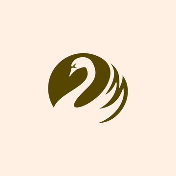 simple swan logo vector. Abstract minimalistic logo icon bird silhouette of a swan