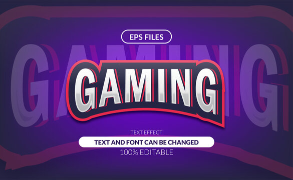 Gaming e-sport or sport club logo editable text effect. eps vector files