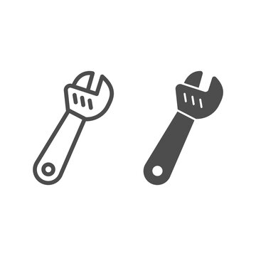 Large adjustable wrench line and solid icon, labour day concept, metal wrench for loosening bolts sign on white background, monkey wrench icon in outline style for mobile and web. Vector graphics.