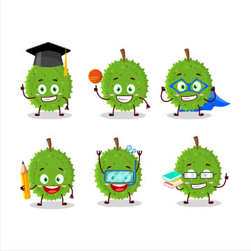 School student of durian cartoon character with various expressions