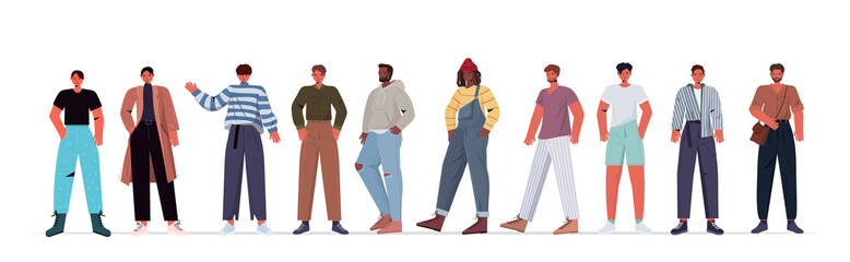 Wall Mural - set mix race men in casual trendy clothes male cartoon characters collection horizontal full length vector illustration