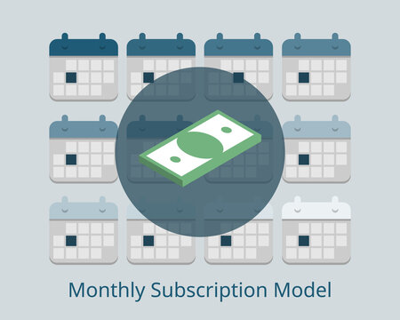 monthly subscription model to have recurring payment every month vector