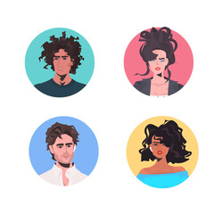 Wall Mural - set mix race people profile avatars beautiful man woman faces male female cartoon characters collection portrait vector illustration