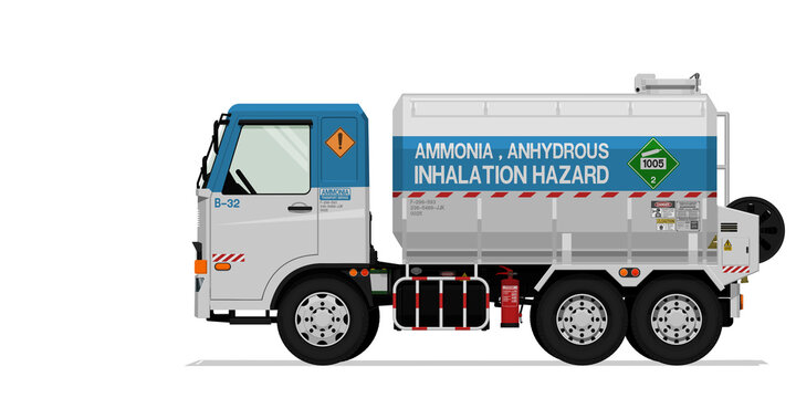 Isolated ammonia truck on white background