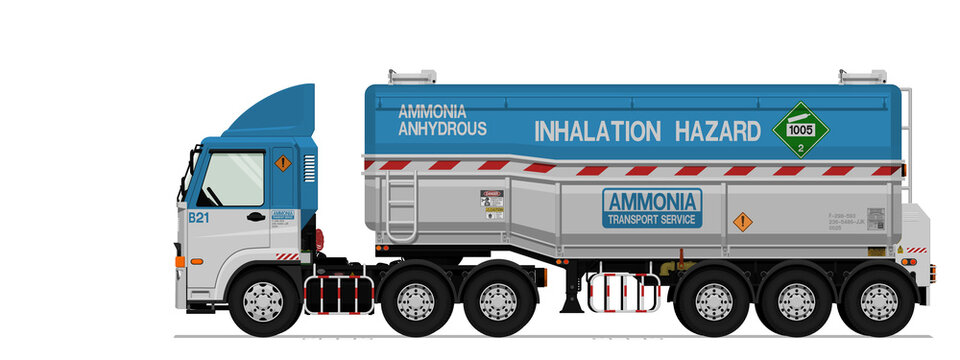 Isolated ammonia semi trailer truck on white background
