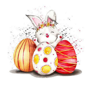 Watercolor Easter bunny with eggs