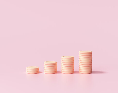 Minimal Coin stacks growing graph on pink background. Business investment and saving money concept. 3d render illustration