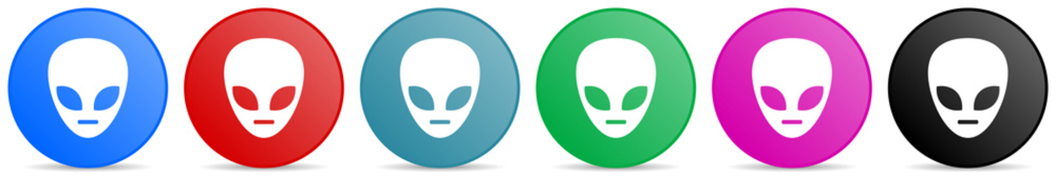 Alien face vector icons, set of circle gradient buttons in 6 colors options for webdesign and mobile applications