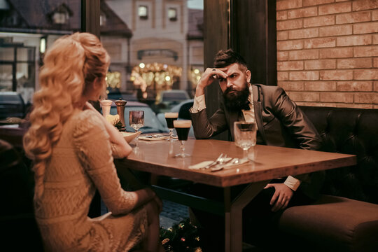 Bad date of couple, break up relations and love. Dislike makes conflict and divorce. Business meeting of man and woman. Couple with misunderstanding at restaurant. Married problem.