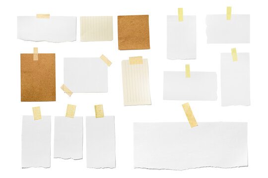 Set of different blank paper sheets on white background