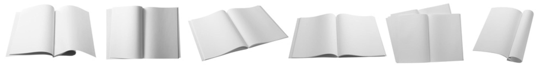 Set of blank magazines on white background