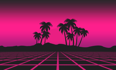 80s Retro, synthwave futuristic palms and sunset background