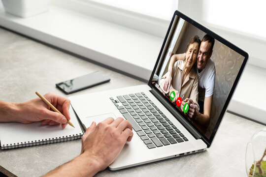 Family multi generational using conference application for meeting - Video call headshot from webcam of group friends in lockdown from Coronavirus, Covid-19