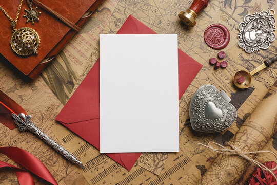 Vintage Love Card on Top of Red Envelope Mockup