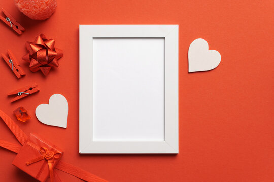 White Frame on Red Background Love Mockup