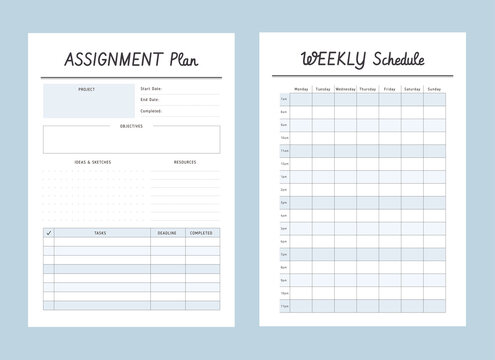 Set of assignment plan and weekly schedule sheets. Clear and simple printable to do list.