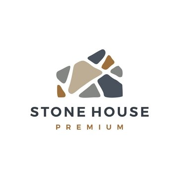 stone house home mortgage logo vector icon illustration