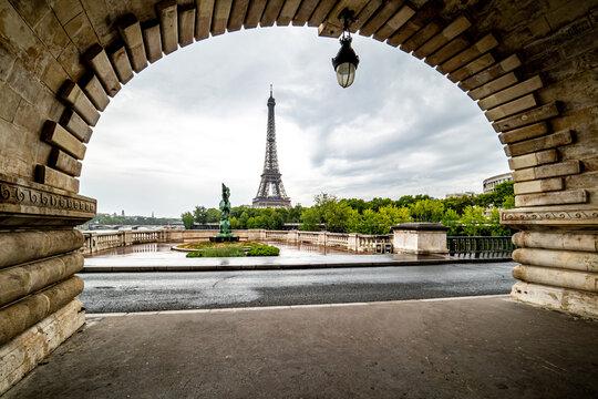 Eiffel Tower from the arch on the Bir-Hakim Bridge - Paris, France