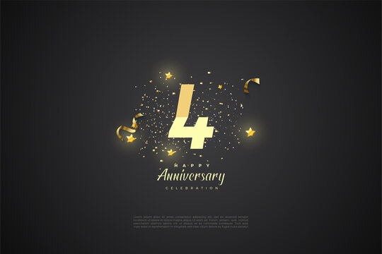 4th anniversary with graded number illustration.
