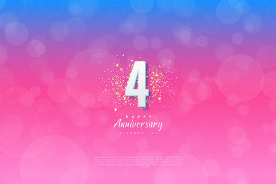 4th Anniversary with illustration of background graded from blue to pink.
