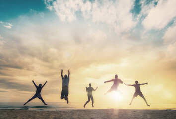 Happy family people group celebrate jump for good life on weekend concept for win victory, person...