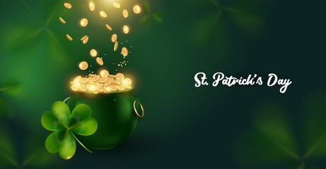 Obraz St. Patrick's Day background with pot and riches. The gold coins falling down in the green pot .A horizontal banner with space for text.vector illustration - fototapety do salonu