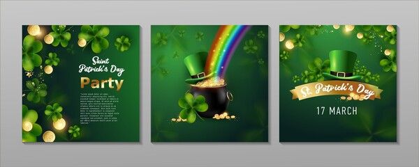 Obraz St. Patrick's Day set of flyers brochures, invitation to a holiday, corporate holiday. a leprechaun hat, a shamrock, a pot of gold coins, a rainbow, on a dark green background. Vector illustration. - fototapety do salonu