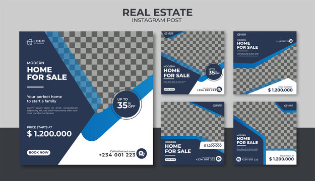 Real estate for sale instagram post or flyer square template
